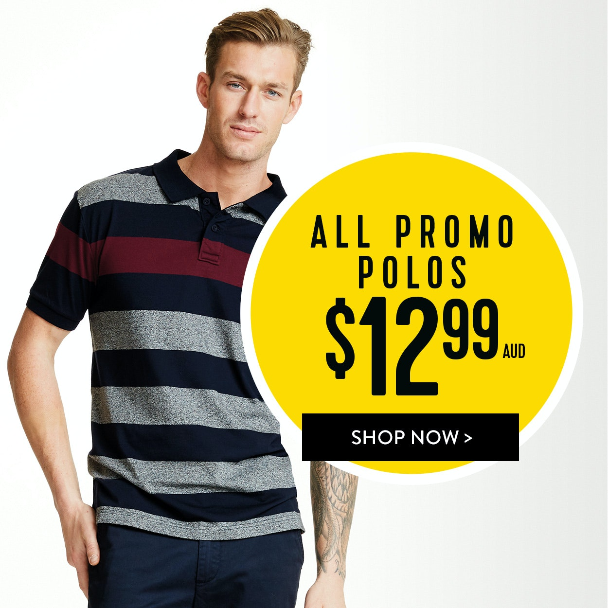 Save on All Mens Promo Polos for $12.99