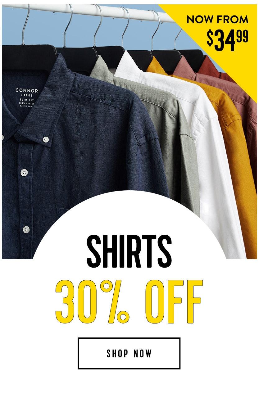 Shop shirts 30% off