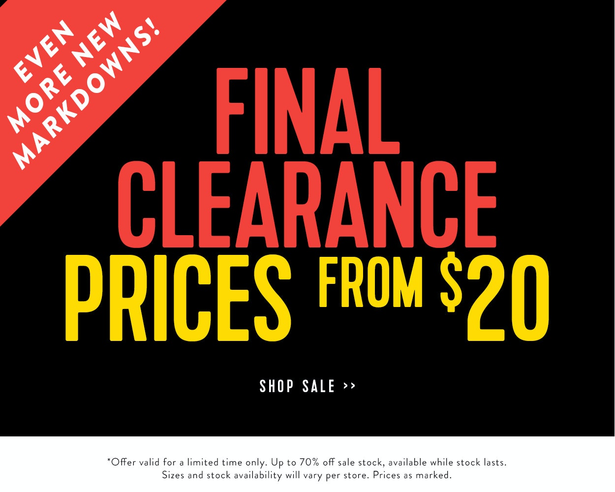 Final Clearance Prices from $20