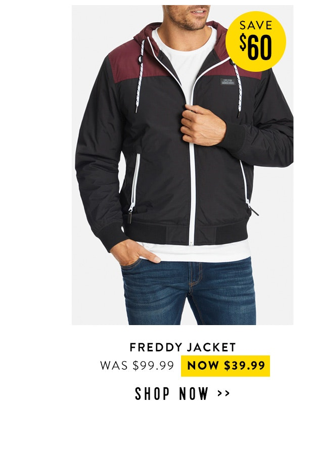 Shop the freddy jacket now $39.99
