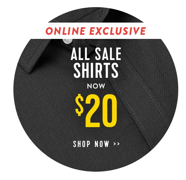 Sale shirts $15 online exclusive