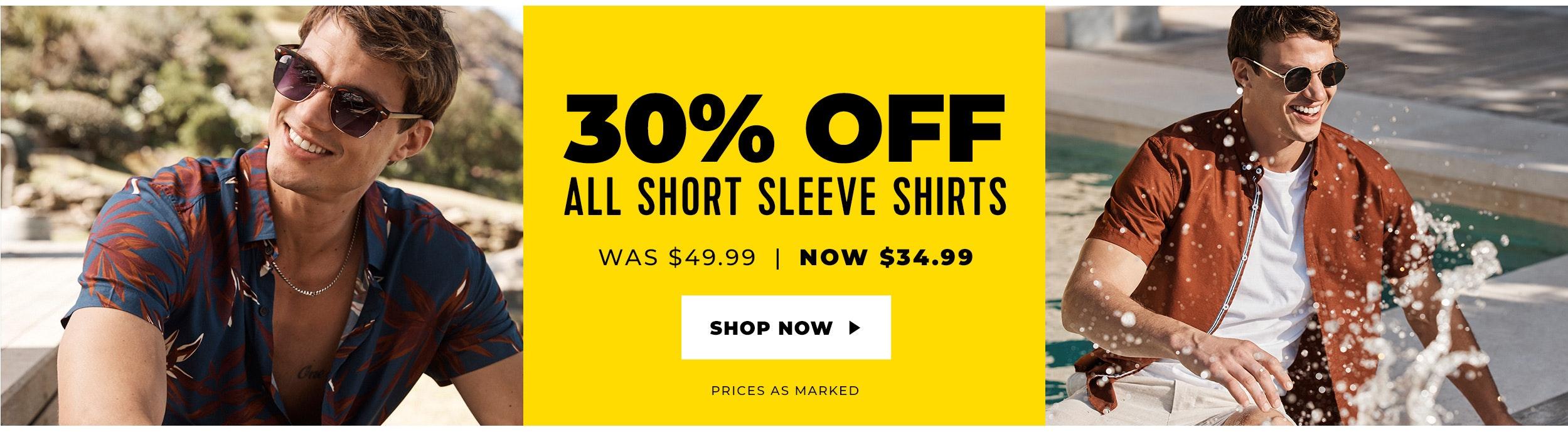 30% off short sleeve shirts