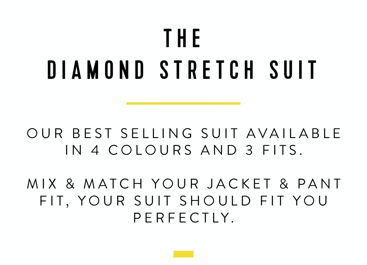 Shop The Diamond Stretch Suit | Available in 4 colours and 3 fits