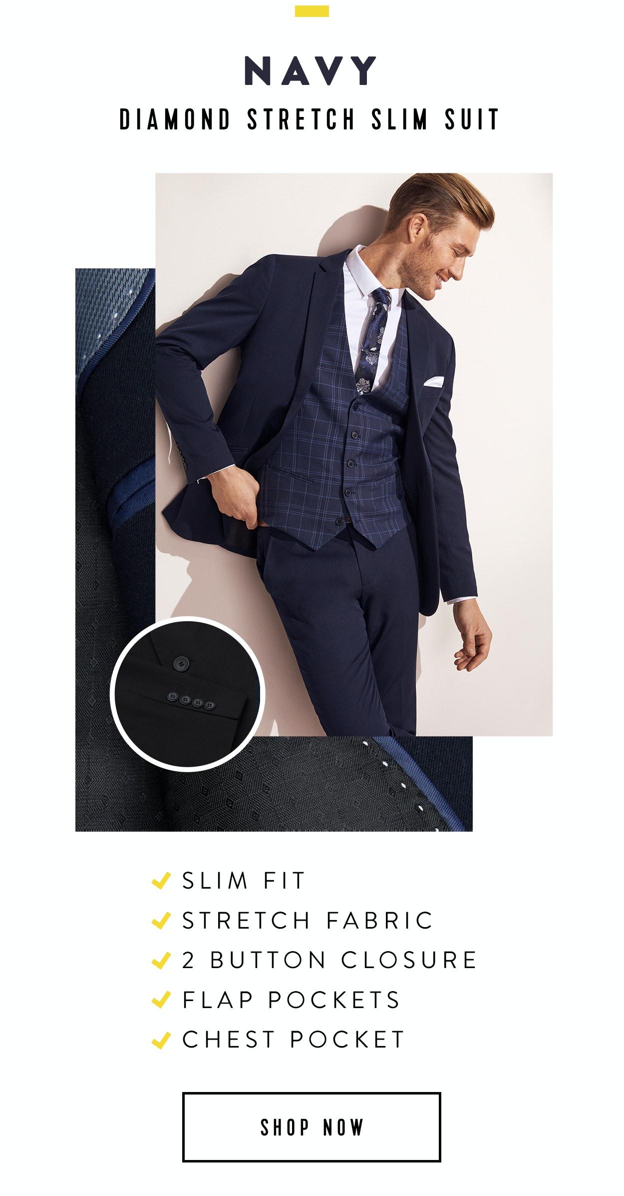 Shop Diamond Stretch Skinny Suit In Navy