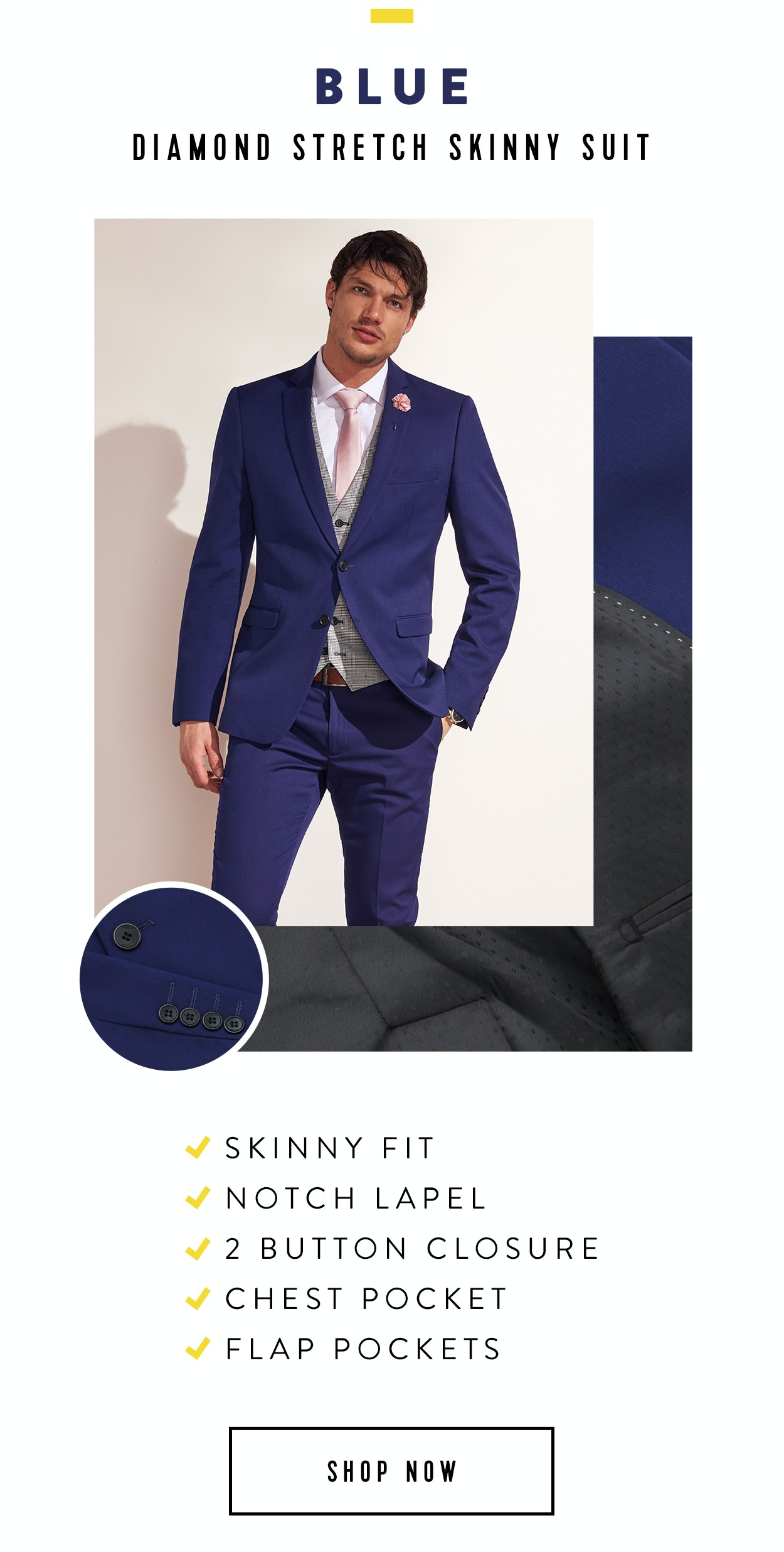 Shop Diamond Stretch Skinny Suit in Blue