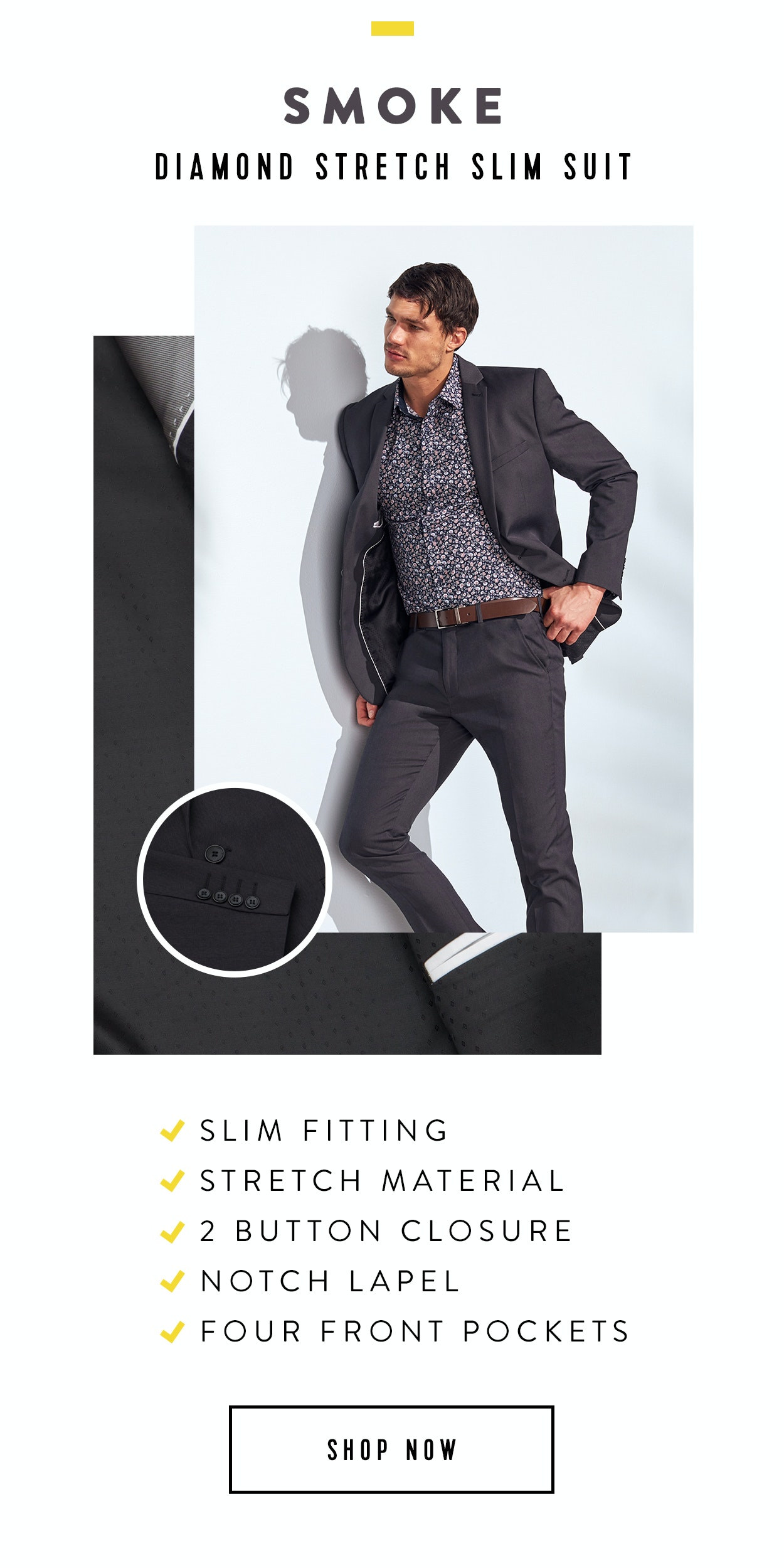 Shop Diamond Stretch Slim Suit Smoke