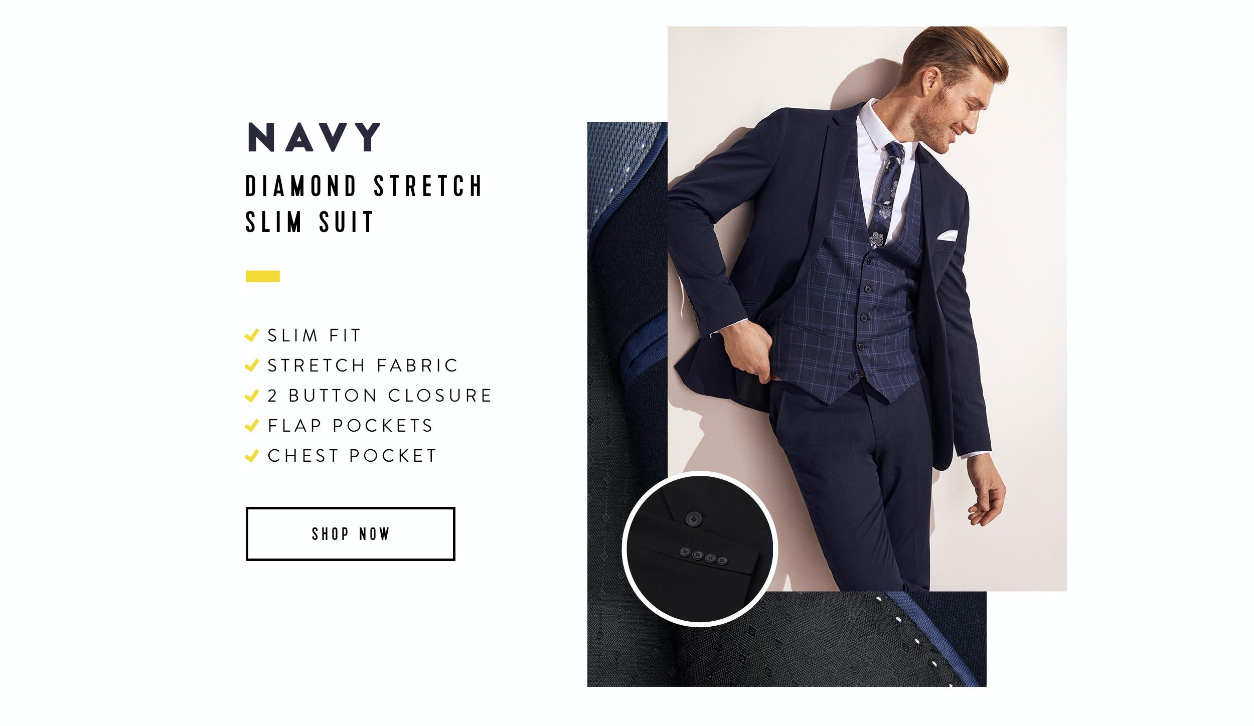 Shop The Diamond Stretch Skinny Slim Suit In Navy