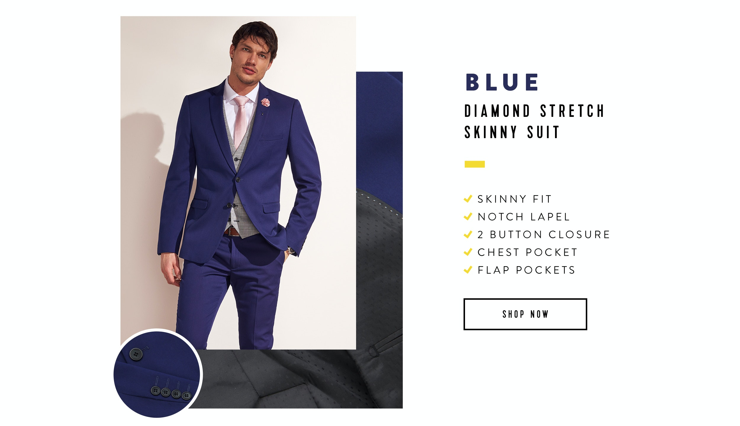 Shop The Diamond Stretch Skinny Suit In Blue