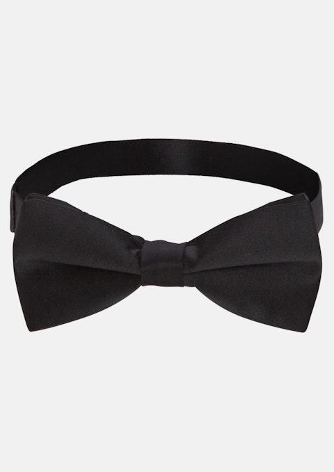 Black Plain Satin Bow Tie