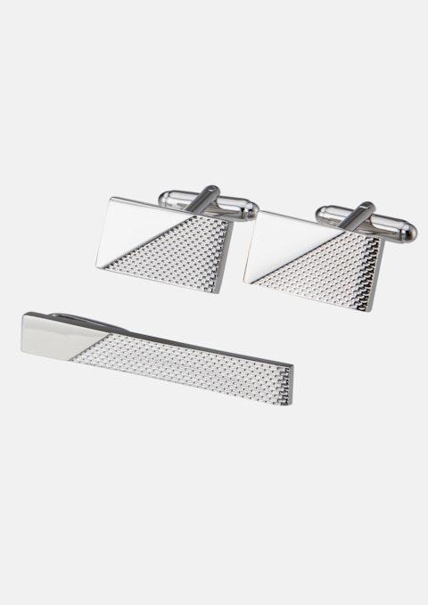 Silver Cuff & Tie Pin Set