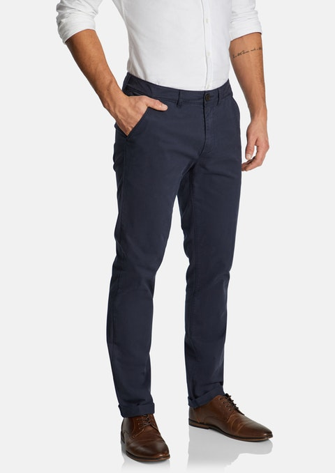 Navy Lochlan Tapered Stretch  Chino
