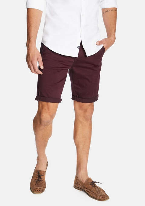 Burgundy Darwin Chino Stretch Short