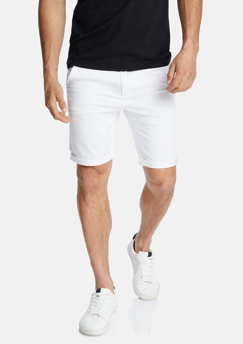 White Darwin Chino Stretch Short