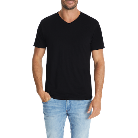 Black Essential V Neck Tee by Connor