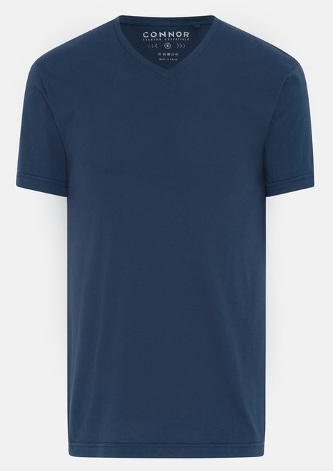 Dark Blue Essential V-neck Tee