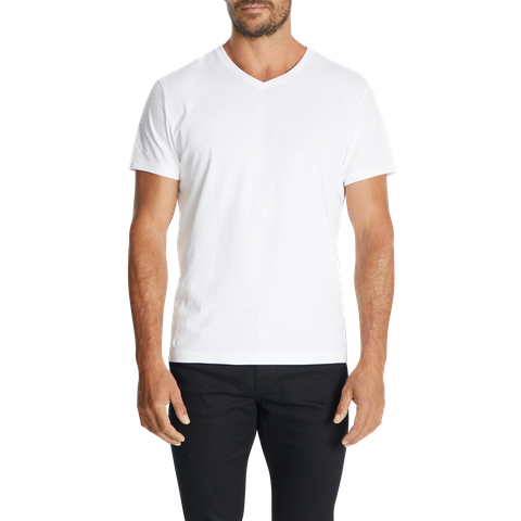 White Essential V Neck Tee by Connor