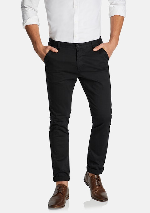 Black Platinum Slim Stretch Chino