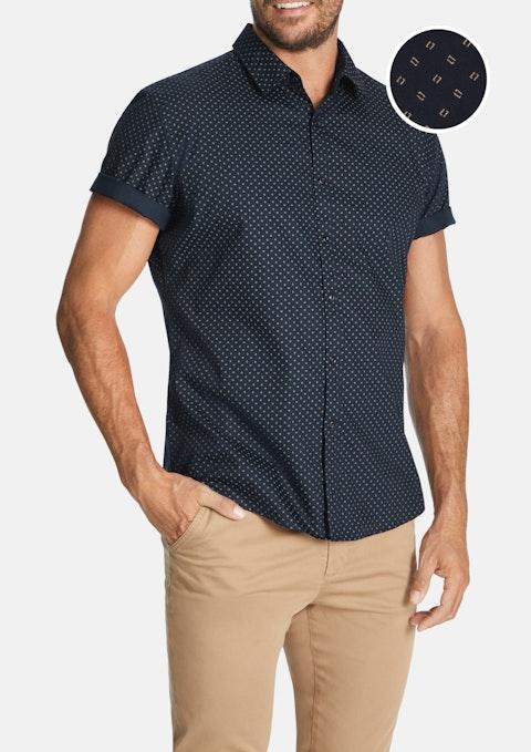 Navy Rowen Print Shirt