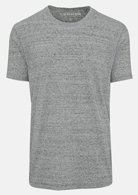 Grey Marle Textured Crew Tee