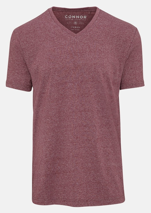 Berry Textured V-neck Tee