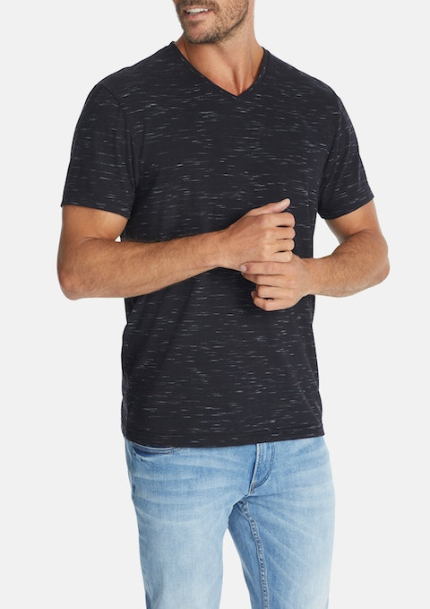 Charcoal Textured V-neck Tee
