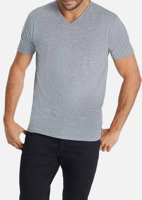 Grey Textured V-neck Tee