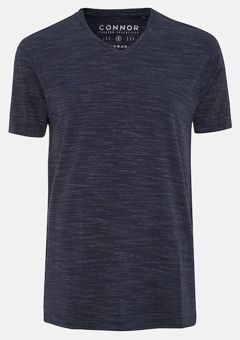 Navy Textured V-neck Tee