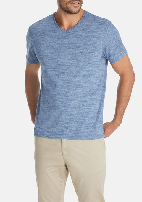 Steel Textured V-neck Tee