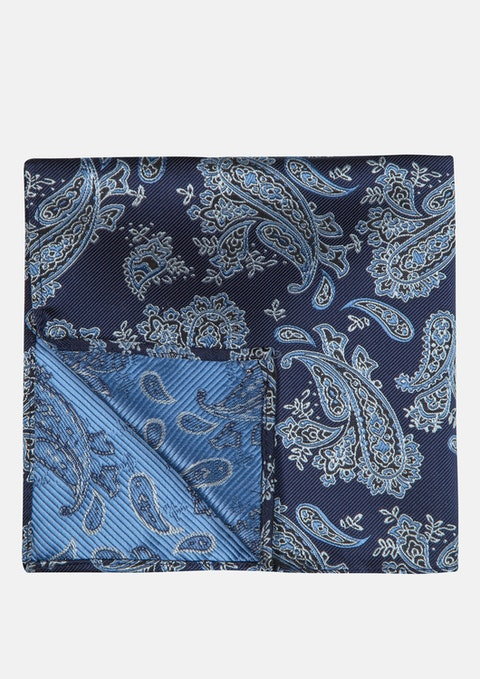 Blue Jacquard Pocket Sqaure