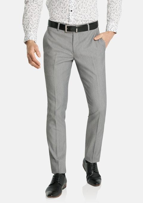 Light Grey Diamond Skinny Stretch Dress Pant