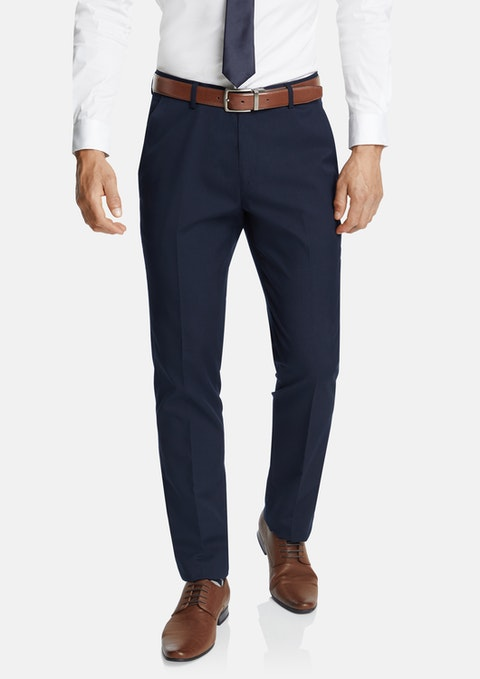 Navy Diamond Slim Stretch Dress Pant