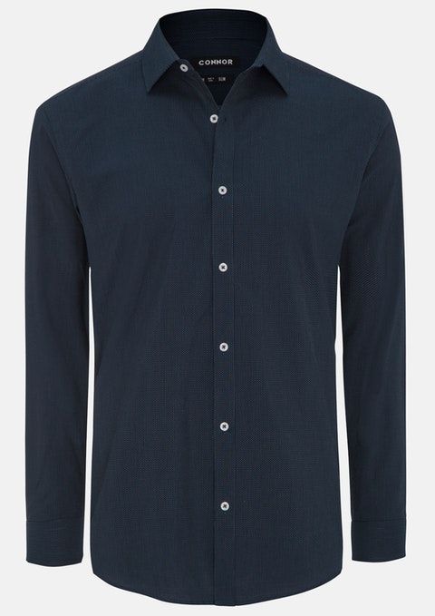 Navy Harch Slim Dress Shirt
