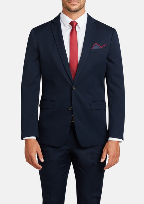 Navy Diamond Stretch Slim Suit Jacket