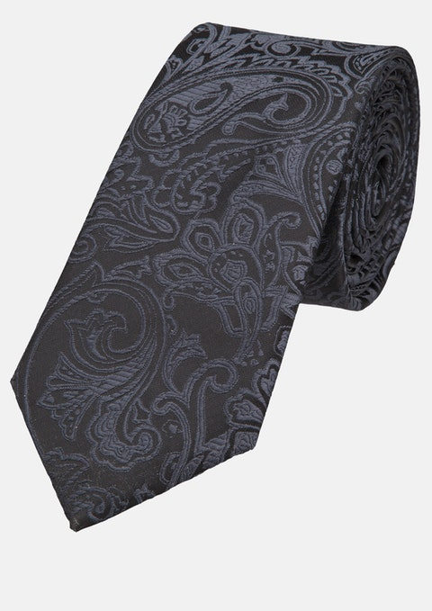 Black Jacquard 7cm Tie