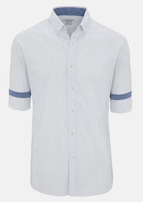 White Kangley Slim Casual Shirt