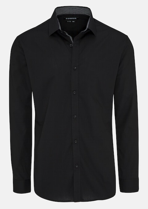 Black Asterson Slim Dress Shirt