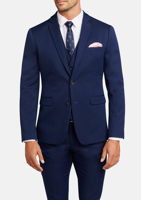 Blue Diamond Stretch Skinny Suit Jacket