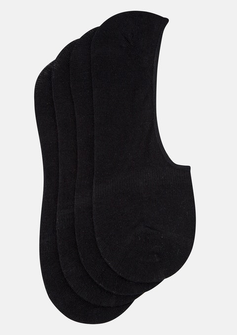 Black Invisible 4 Pack Sock