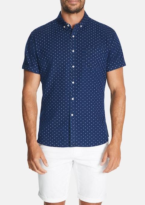 Indigo Fairmont Print Slim Shirt