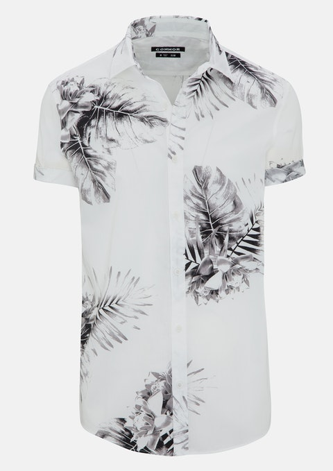White Damon Print Shirt
