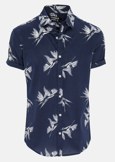 Navy Alonso Print Shirt