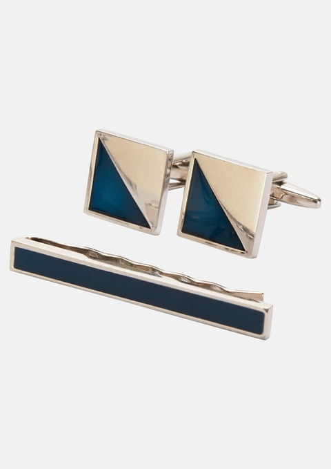 Navy Cuff & Tie Pin Set