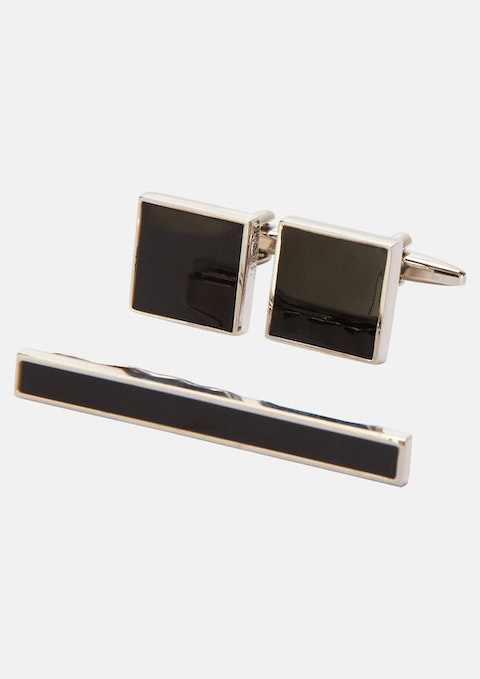 Black Cuff & Tie Pin Set