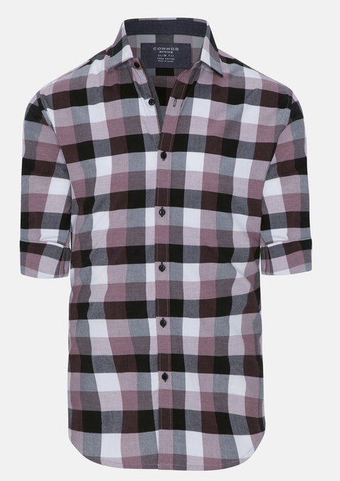 Dusty Pink Rigby Slim Casual Check Shirt
