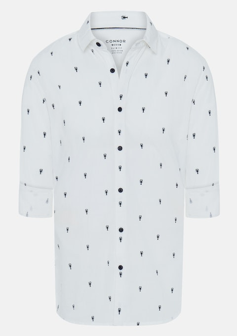 White Lobster Slim Casual Shirt