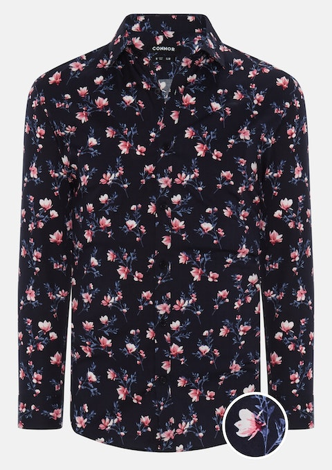 Navy Florida Floral Print Slim Shirt