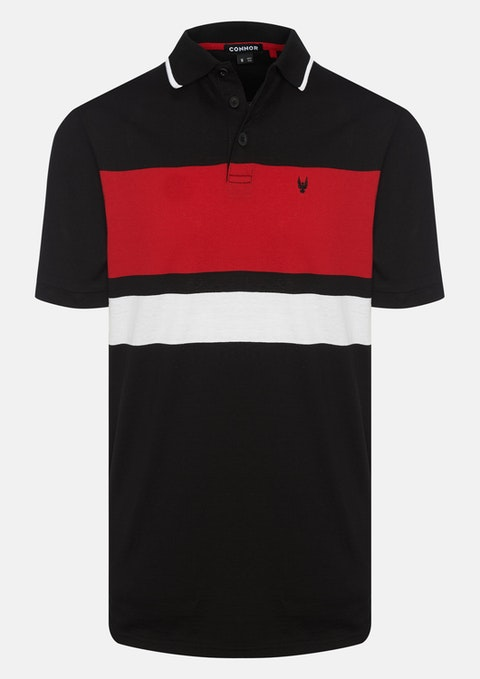 Black Ernie Stripe Polo