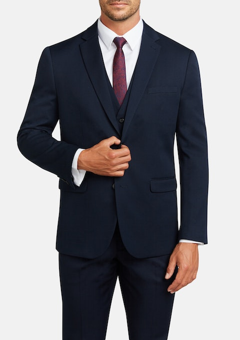Navy Diamond Stretch Classic Suit Jacket