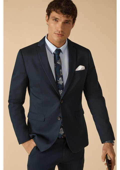 Navy Diamond Stretch Skinny Suit Jacket