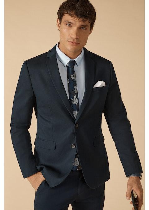Navy Diamond Stretch Skinny Suit Jacket